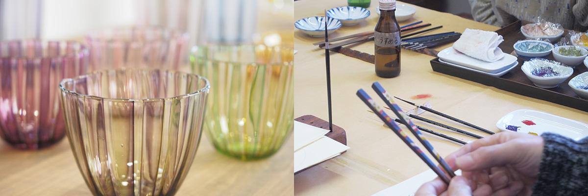 手づくりグラス+漆絵付けイメージ写真
